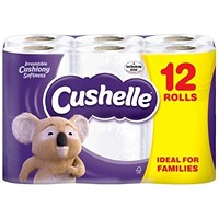 Cushelle Toilet Rolls, White, 2-Ply, 180 Sheets per Roll, 1 Pack of 12 Rolls