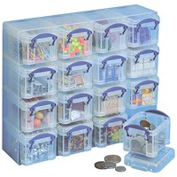 Really Useful Storage Box, 0.14 Litre, Clear, Pack of 16