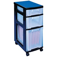 Really Useful Storage Towers, 3 x Assorted Litre Drawers, Black & Clear