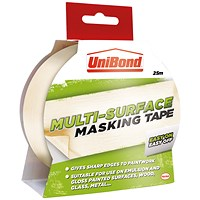 UniBond Masking Tape, Easy On/Off, 25mm x 25m
