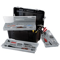 Raaco 23 Inch Toolbox with Two Removable Trays - Black