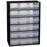 Raaco Steel Cabinet, 18 Polypropylene Drawers, Black