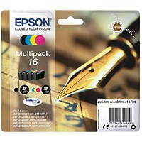 Epson 16 Inkjet Cartridge Multipack - Black, Cyan, Magenta and Yellow (4 Cartridges).