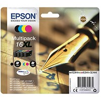 Epson 16XL High Yield Inkjet Cartridge Multipack - Black, Cyan, Magenta and Yellow (4 Cartridges)