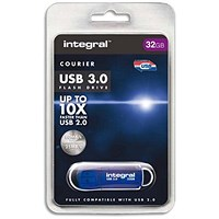 Integral Courier USB 3.0 Flash Drive, 32GB, Blue