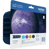 Brother LC1220VALBP Inkjet Cartridge Value Pack - Black, Cyan, Magenta and Yellow (4 Cartridges)