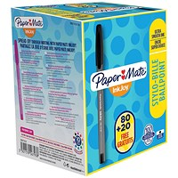 Paper Mate InkJoy 100 Ball Pen, Black, Pack of 80 plus 20 FREE