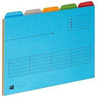 Elba A4 Ultimate Tabbed Folders, 240gsm, Set of 5, Assorted, Pack of 25