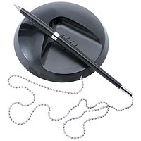 5 Star Reception Pen, Chain & Base, Black