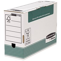 Fellowes Bankers Box Transfer Files, Foolscap, White & Green, Pack of 10