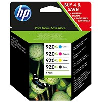HP 920XL High Yield Colour Ink Cartridge (4 Pack)