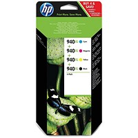 HP 940XL High Yield Ink Combo Pack - Black, Cyan, Magenta and Yellow (4 Cartridges)