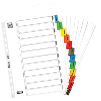 Elba Subject Dividers, Jan-Dec, Multicoloured Tabs, A4, White
