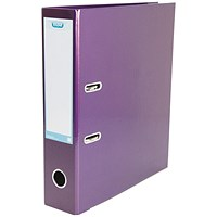 Elba A4 Lever Arch File, Laminated, Metallic Purple