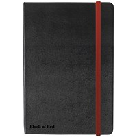 Black n' Red Casebound Notebook, A5, Ruled & Numbered, 144 Pages