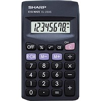 Sharp Pocket Calculator, 8 Digit, 3 Key, Battery Powered, Black