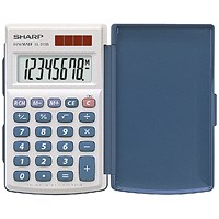 Sharp Handheld Calculator with Hard Cover, 8 Digit, 3 Key, Solar/Battery, White