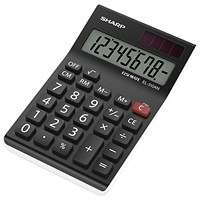 Sharp Desktop Calculator, 8 Digit, 4 Key, Battery/Solar Power, Black