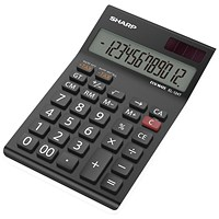 Sharp Desktop Calculator, 12 Digit, 4 Key, Battery/Solar Power, Black