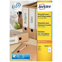 Avery Recycled Filing Labels, 4 Per Sheet, 192x61mm, LR4761-100, 400 Labels