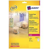 Avery Crystal Clear Labels, 10 Per Sheet, 96x50.8mm, L7783-25, 250 Labels