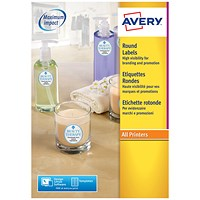 Avery Special Round Removable Labels, 24 per Sheet, 40mm Diameter, White, L3415-100, 2400 Labels