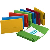 Elba A4 Document Wallets Half Flap, 285gsm, Assorted, Pack of 50