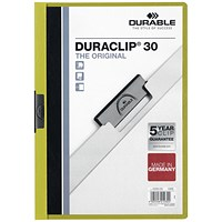 Durable A4 Duraclip Folders, 3mm Spine, Green, Pack of 25