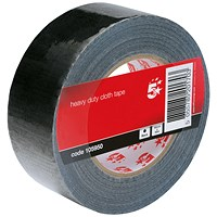 5 Star Heavy/Duty Cloth Tape Roll, 50mmx50m, Black