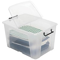 Strata Smart Box, 65 Litre, Clip-on Folding Lid, Clear
