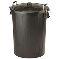 Strata Refuse Bin With Lid & Metal Clip Handles, 80 Litre, Black