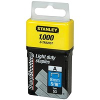 Stanley 8mm Light Duty Staples - Pack of 1000