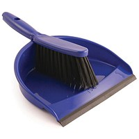 Dustpan & Brush Set, Soft Bristle, Blue