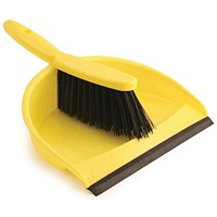 Dustpan & Brush Set, Soft Bristle, Yellow