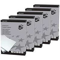 5 Star A4 Smooth Copier Paper, High White, 90gsm, Box (5 x 500 Sheets)