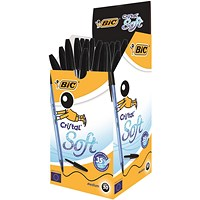 BIC Cristal Soft Ball Pen, Black, Pack of 50