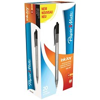 Paper Mate Inkjoy 100 Retractable Ballpoint Pen / Black / Pack of 20