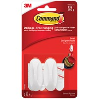 Command Oval Adhesive Hooks, Small, Pack of 2