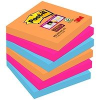 Post-it Super Sticky Notes, 76x76mm, Bangkok, Pack of 6 x 90 Notes