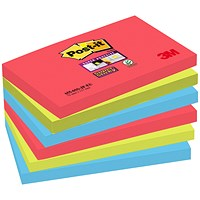 Post-it Super Sticky Colour Notes, 76x127mm, BoraBora, Pack of 6 x 90 Notes