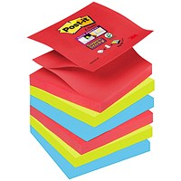 Post-it Super Sticky Z-Notes, 76x76mm, BoraBora, Pack of 6 x 90 Notes