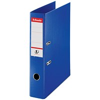 Esselte No. 1 Power Foolscap Lever Arch Files, Slotted Covers, Blue, Pack of 10