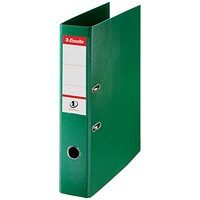 Esselte No. 1 Power Foolscap Lever Arch Files, Slotted Covers, Green, Pack of 10