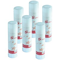 5 Star Medium Glue Stick / 20g / Pack of 6