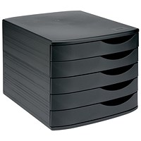 5 Star Desktop Drawer Set with 5 Drawers, A4 & Foolscap, Black
