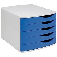 5 Star Desktop Drawer Set with 5 Drawers, A4 & Foolscap, Grey & Blue