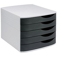 5 Star Desktop Drawer Set with 5 Drawers, A4 & Foolscap, Grey & Black