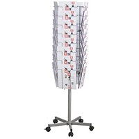 Twinco Literature Display Revolving Floor Stand, 32 Compartments, A4, Silver