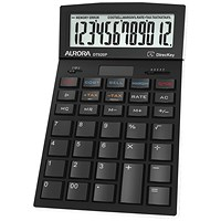 Aurora Desktop Calculator, 12 Digit, 4 Key, Battery/Solar Power, Black