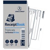 Challenge Carbonless Receipt Triplicate Book, 50 Receipts, 140x70mm, Pack of 10